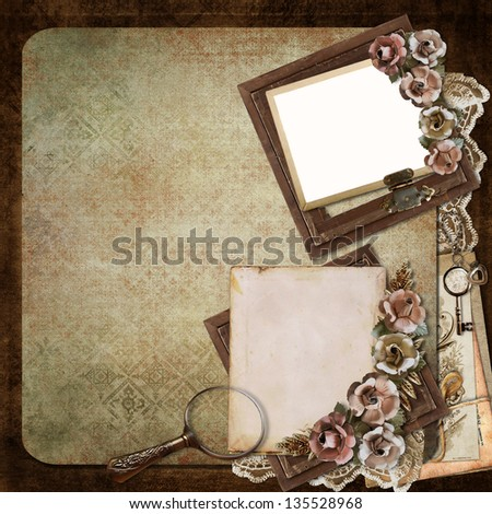 Vintage background with old frames, roses and letters - stock photo