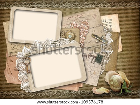 Vintage background with old frames with space for photo or text - stock photo