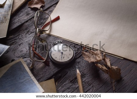 vintage background with old paper - stock photo