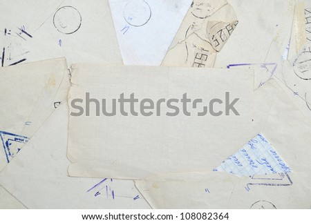 Vintage background with old paper, letters - stock photo