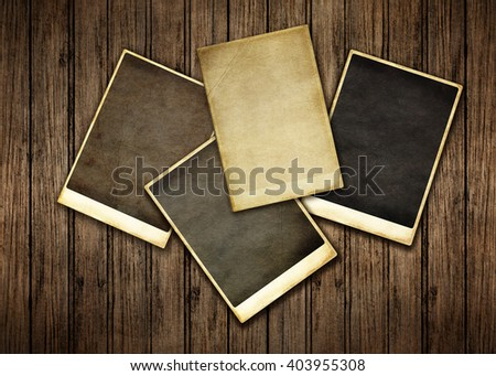 Vintage background with old photos of the old wooden - stock photo