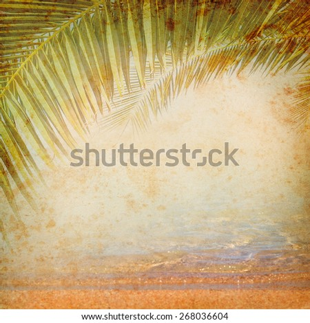 Vintage background with palm leaves. Grange texture for exotic travel in retro style. Tropical jungle on the old grunge antique paper - concept of adventure on the tropical island. - stock photo