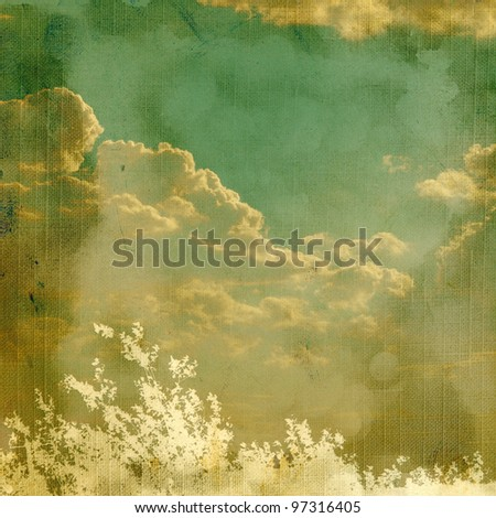 Vintage background with plant and clouds. Page to design photo books - stock photo