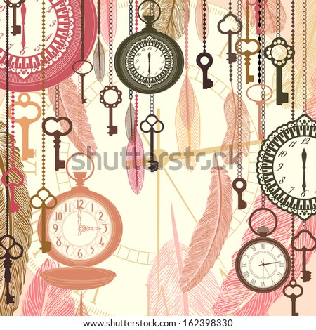 Vintage  background with pocket watches and feathers. Raster copy