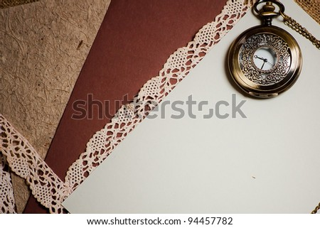 Vintage background with pocketwatch. Empty space - stock photo