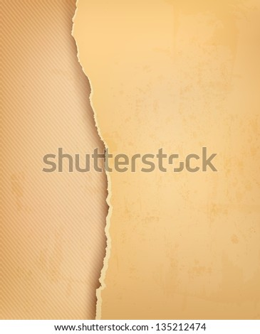 Vintage background with ripped old paper. Raster version. - stock photo