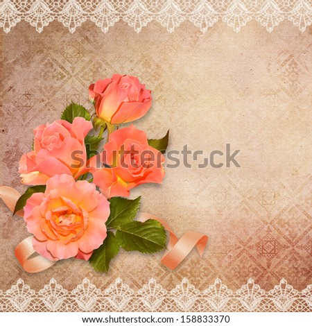 Vintage background with roses - stock photo