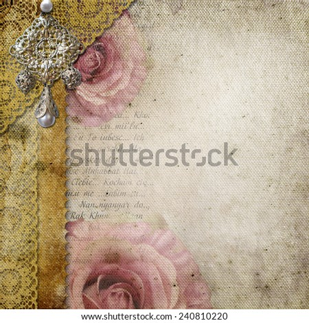 Vintage background with roses, lace, text I Love you over retro paper - stock photo