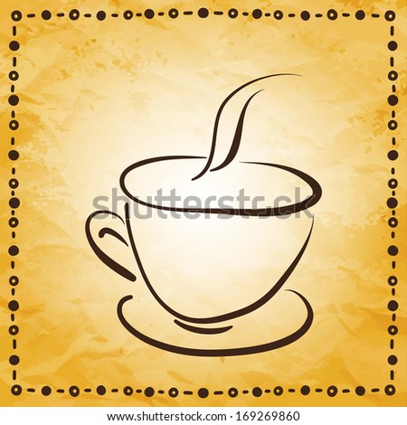 Vintage background with sketch cup - raster version  - stock photo