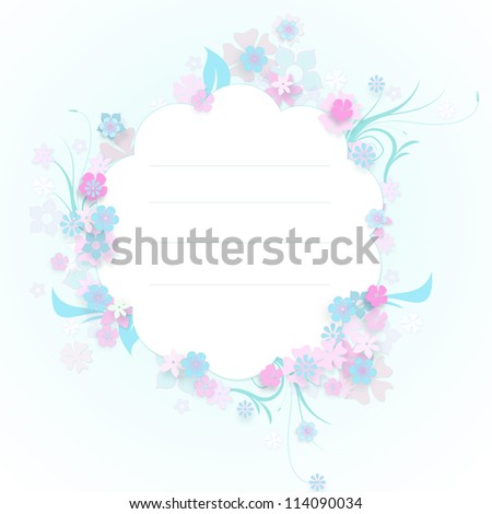 Vintage background with stamp-frame and flowers for congratulations and invitations - stock photo