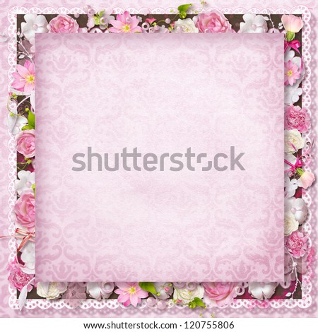 Vintage background with stamp-frame and flowers for congratulations and invitations