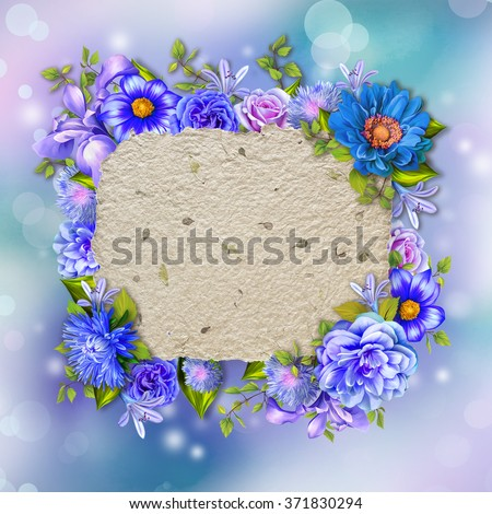 Vintage background with stamp frame and flowers for congratulations and invitations, wedding card background with a border of blue, purple and pink flower, green leaves and handmade paper texture - stock photo