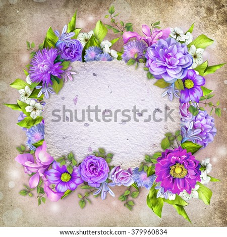 Vintage background with stamp frame and flowers for congratulations and invitations, wedding card background with a border of blue, pink and purple flower, green leaves and handmade paper texture - stock photo