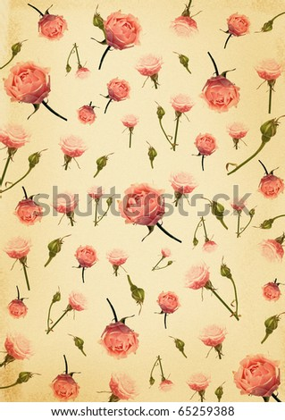vintage background with tender pink roses