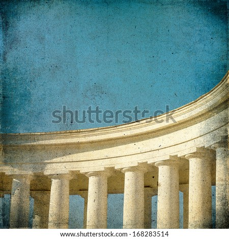 Vintage background with the image of ancient architecture colonnade column  - stock photo