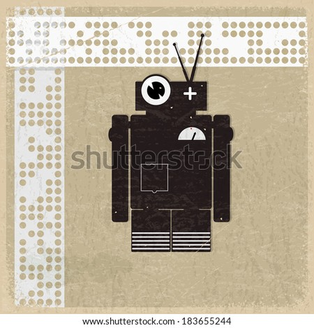 Vintage background with the silhouette of a robot - stock photo