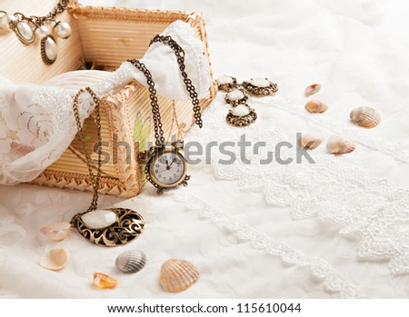 Vintage background with watch. Romantic photo - stock photo