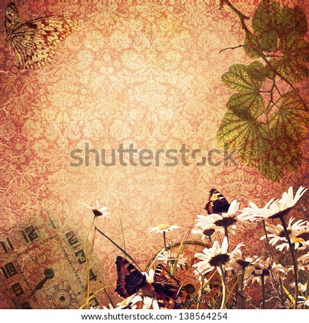 vintage background with watches and nature