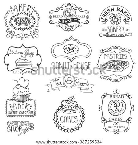 Vintage Bakery sweet cakes logo badges and  labels.Hand drawing doodles logotypes.Retro Collection for cafe,menu branding.Mono Linear ,outline set .Vintage food illustration,sweet bakery set - stock photo