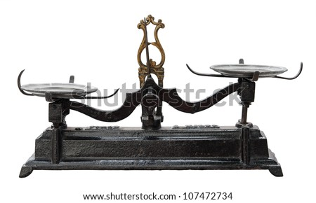 Vintage balance isolated on white. Clipping path included. - stock photo