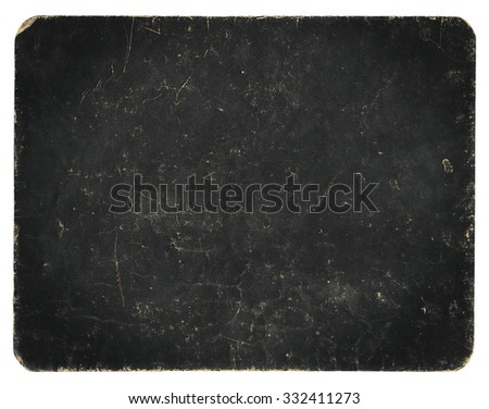 Vintage banner, blackboard or background isolated on white with clipping path, rich grunge texture, antique paper mounted onto cardboard.