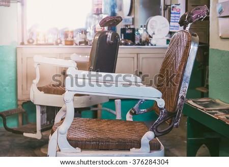 Vintage Barber's Chair - Barbershop - stock photo