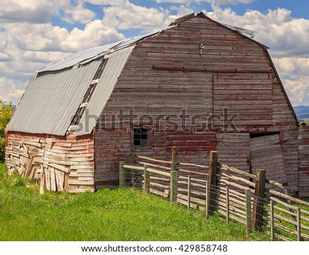 Vintage barn in rural Wyoming, USA. - stock photo
