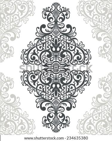 vintage baroque border frame card cover background engraving filigree flower motif arabic retro floral pattern ornate - stock photo