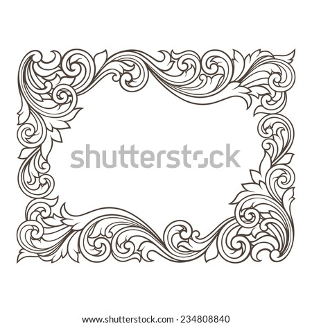 vintage baroque  border frame engraving with retro ornament pattern in antique rococo style decorative design - stock photo