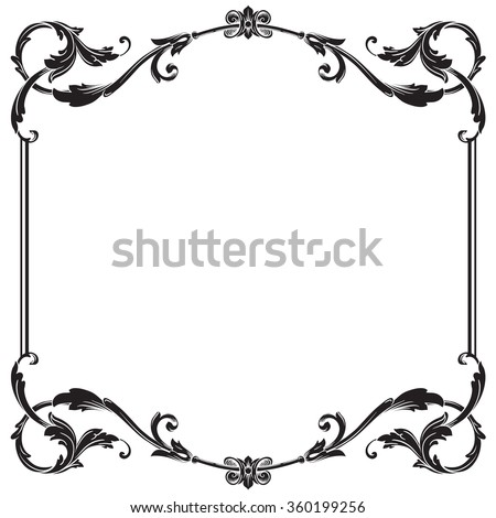 vintage baroque frame scroll ornament engraving stock illustration rh shutterstock com  damask borders clip art free