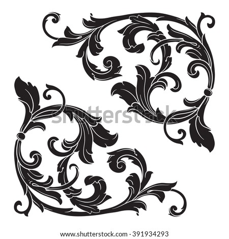 Vintage baroque frame scroll ornament engraving border floral retro pattern antique style acanthus foliage swirl decorative design element filigree calligraphy wedding