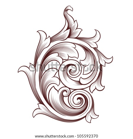 Vintage baroque scroll design element flower motif pattern isolated on white background