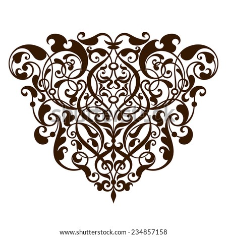 vintage Baroque scroll design frame border corner pattern element engraving retro style ornament - stock photo
