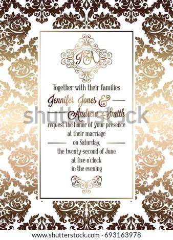 Vintage baroque style wedding invitation card stock illustration vintage baroque style wedding invitation card template elegant formal design with damask background stopboris Images
