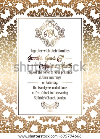 Vintage baroque style wedding invitation card stock illustration vintage baroque style wedding invitation card template elegant formal design with damask background stopboris