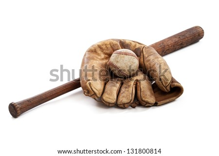Vintage baseball bat, ball and glove isolated on a white background - stock photo