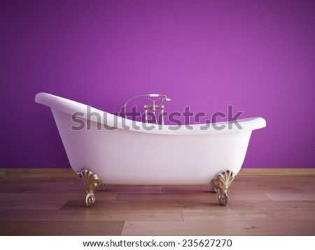 Vintage bath tube in a room with a color wall. 3d rendering - stock photo