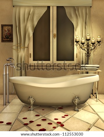 Vintage Bathroom With Candles And Rose Petals