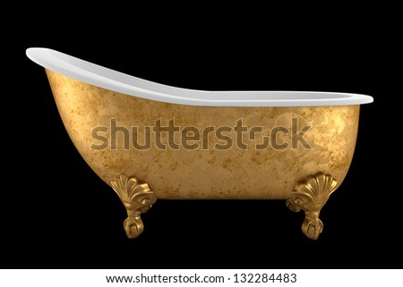 vintage bathtub isolated on black background