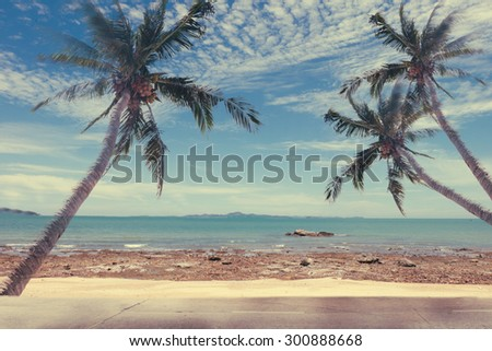 Vintage Beach Palms,vintage effect filter style pictures - stock photo