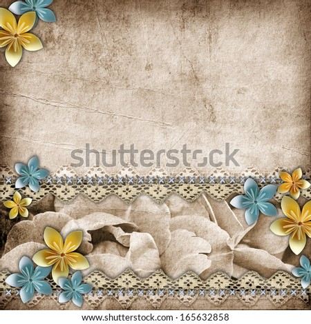 Vintage beautiful  background with lace and paper flower composition  - stock photo