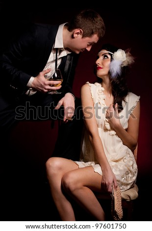 Vintage beautiful photo of man and woman - stock photo