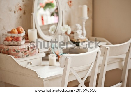 Vintage bedroom mirror - stock photo