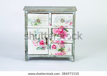 Vintage bedside table in the style of Provence - stock photo
