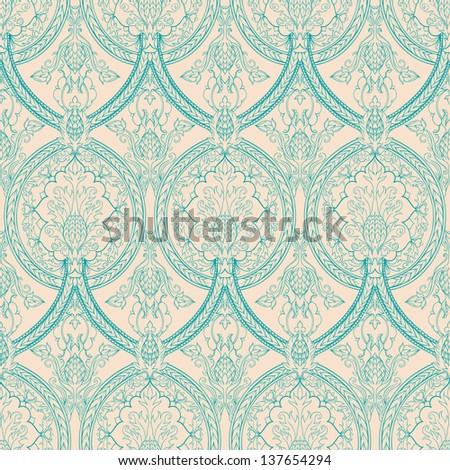 vintage beige and turquoise floral seamless pattern with pineapples  - stock photo