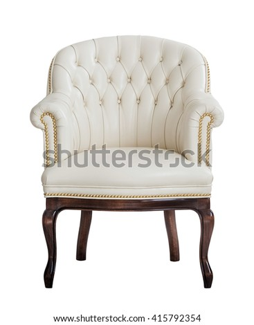Vintage beige leather armchair isolated on white background. Luxury white furniture chair cut out