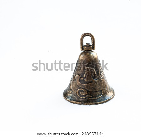 vintage bell isolated on white - stock photo