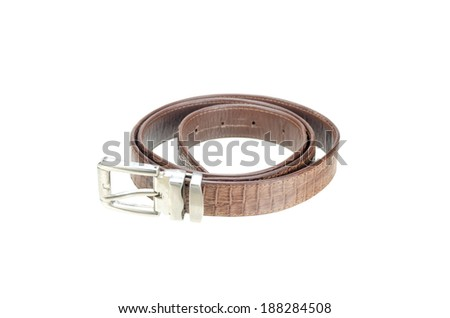 vintage belt made from crocodile skin isolated on white with clipping path - stock photo