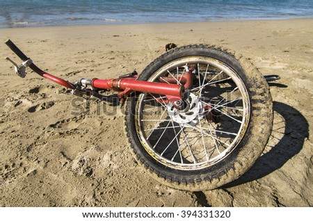 Vintage Bicycle in the Sand - stock photo