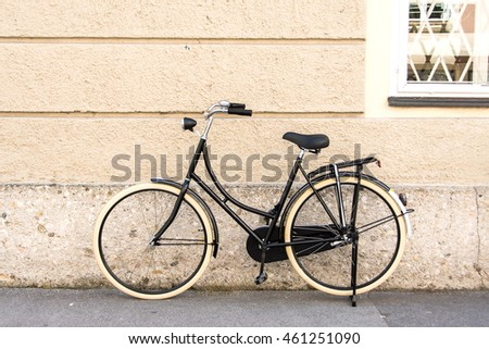 vintage bicycle on old city wall